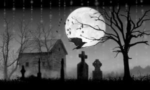 Dark graveyard night moon