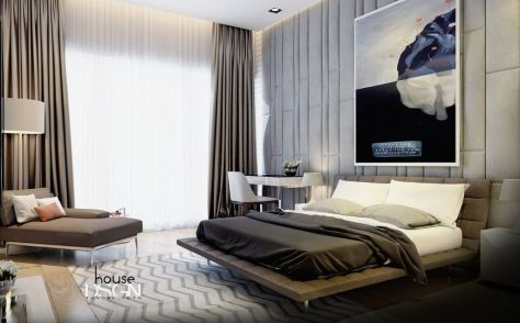 excellnet-masculine-bedroom-design-with-low-profile-platform-bed-and-grey-window-curtain-also-corner-brown-sofa-bed-plus-drum-shape-standing-lamp